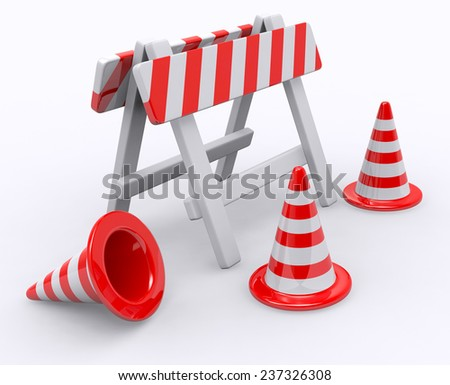 Barriers and road cones - stock photo