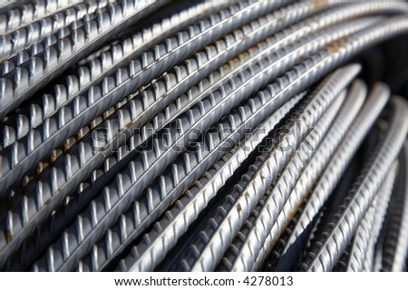 bars of reinforced steel - stock photo