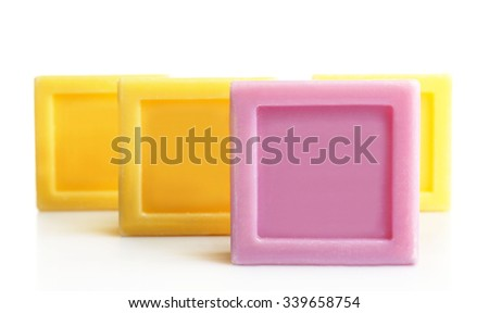 Bars of soap, isolated on white, individuality concept - stock photo