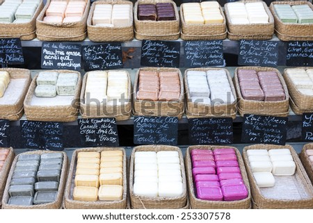 bars of soap, market in Forcalquier, Provence, France - stock photo