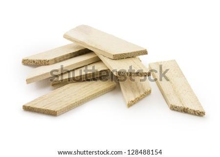 bars of wood isolated on white background - stock photo