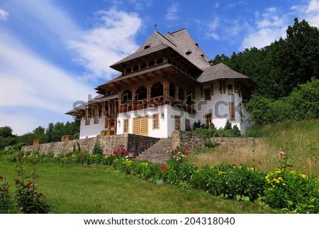 Barsana monastery complex in Maramures in Romania - stock photo