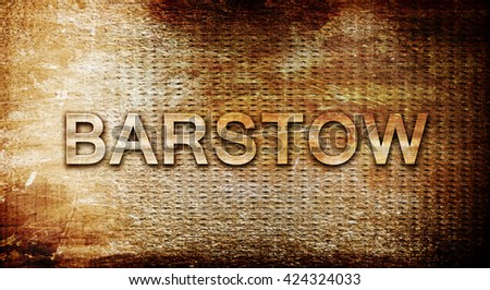 barstow, 3D rendering, text on a metal background