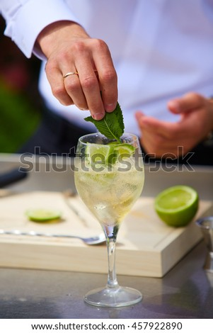 Bartender in nature preparing alcoholic drink mojito.