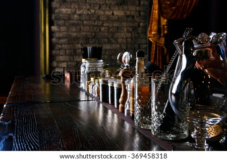 Bartender tools on bar at the night club - stock photo