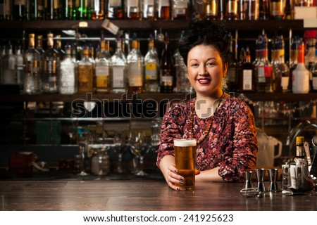 Bartender with beer
