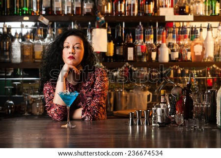 Bartender with cocktaill - stock photo