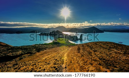 Bartolom���© Island, a perfect spot to enjoy the sunset on the Galapagos Islands - stock photo