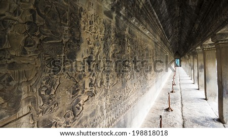 Bas relief of Angkor Wat. Siem Reap, Cambodia - stock photo