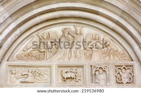 Bas-relief over the Side Entrance to the Duomo in Spilimbergo, Italy - stock photo