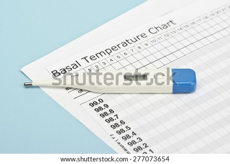 Basal temperature chart with thermometer to predict ovulation. - stock photo
