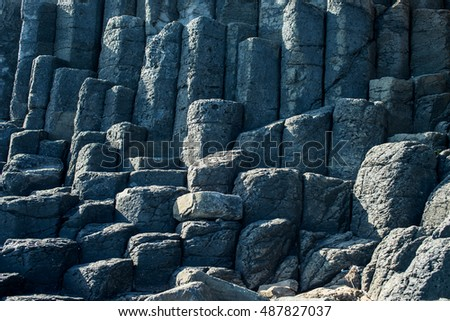 basalt columns in Phu yen, Vietnam. wonder of the world