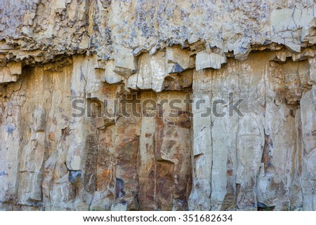 Basalt columns near Calcite Springs in Yellowstone National Park Wyoming. - stock photo