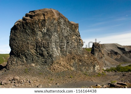 Basalt rock formations believed to be petrified trolls in Vesturdalur, Iceland