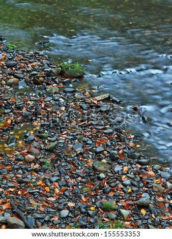 Basalt stones and gravel on river bank of mountain river covered by colorful leaves from maple, aspen and wild cherry trees.