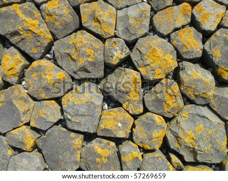 Basalt stones at the coast - stock photo