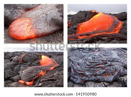 Basaltic pahoehoe lava flow in Hawaii. Kilauea volcano, Pu'u O'o vent.  - stock photo
