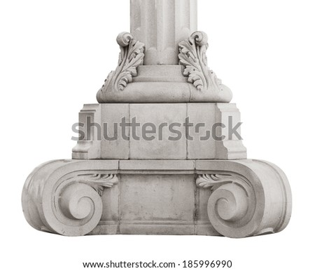 Base ancient marble column on a white background - stock photo