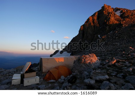Base camp 11500 feet on the saddle of Grand Teton Wyoming - stock photo