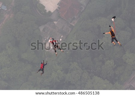 Base jumpers at the 2015 Base Jump KL Tower taken at KL Tower Kuala Lumpur on the 3rd October 2015 between 0930hrs- 1100hrs