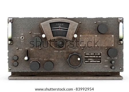 Base station World War II United States Army Signal  Corps Radio receiver and Transmitter  chipped. Original illustration on clean white background. Clip art or cutout - stock photo