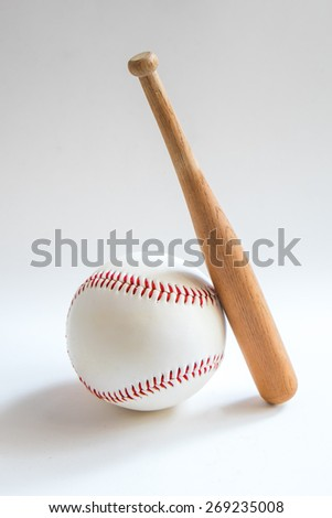Baseball and baseball baton white background,baseball bat small - stock photo