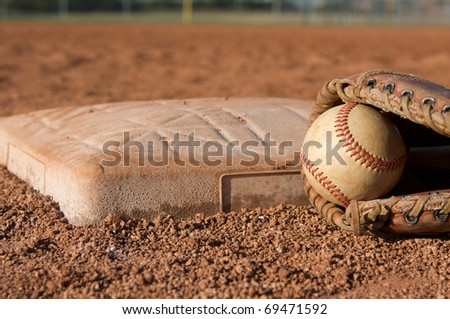 Baseball And Glove A Base With Room For Copy