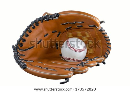 baseball and glove isolatet at white backround - stock photo