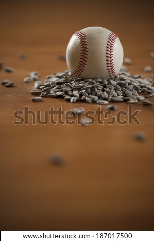 Baseball and sunflower seed still life
