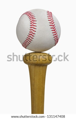 Baseball balancing on bat, isolated on white, includes clipping path - stock photo