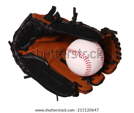 Baseball. Ball in Glove isolated on white.