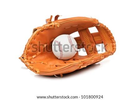 baseball ball in leather glove - stock photo