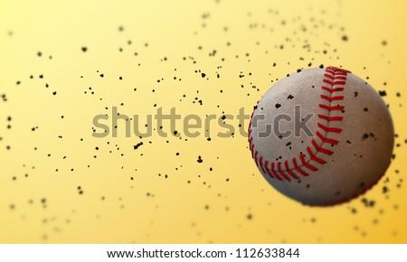 baseball ball isolated on yellow background - stock photo