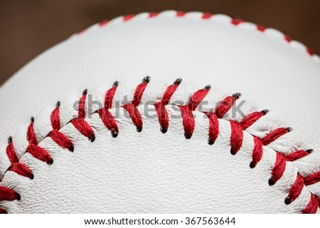 Baseball Ball, Standard Ball. Close up Macro Selective Focus. Concept and Idea of Sport, Recreation and Outdoor Activity. Background, Wallpaper and Textures. - stock photo