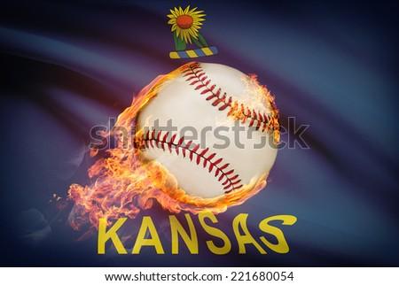 Baseball ball with flag on background series - Kansas - stock photo