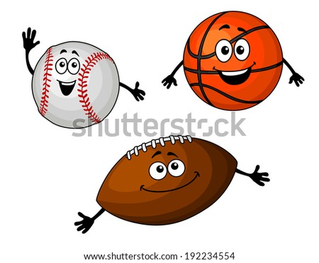 Baseball, basketball and rugby balls set in cartoon style. Vector version also available in gallery - stock photo