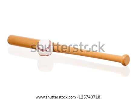 Baseball bat and ball, isolated on white background - stock photo