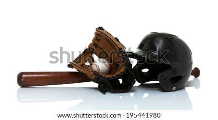 Baseball bat, glove, ball and helmet isolated on white - stock photo