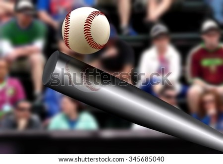 Baseball bat hitting ball with spectator background - stock photo