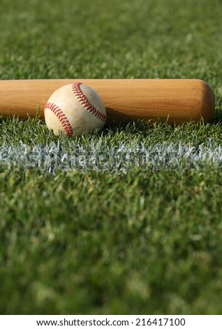 Baseball & Bat on the grass with room for copy - stock photo