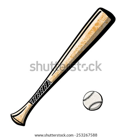 Baseball bat with a ball. A children's sketch. Color image. - stock photo
