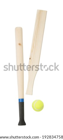 Baseball bats and a ball isolated on white background - stock photo