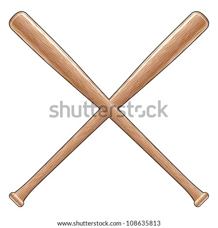 Baseball Bats is an illustration of two crossed wooden baseball or softball bats. Great for t-shirt designs.