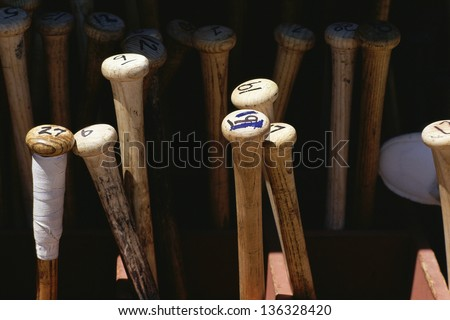 Baseball bats standing on end - stock photo