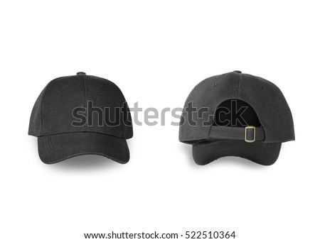 Baseball black cap back and front side isolated on white background. This has clipping path.