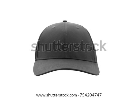 Baseball cap black templates, front views isolated on white background. Mock up.