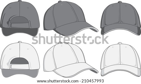 Baseball Cap Front Back Side View Stockillustration 210457993 ...