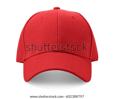 red white baseball hat and black stock photo cap isolated background