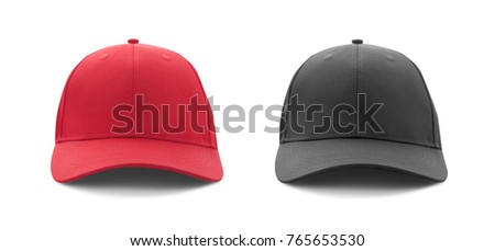 Baseball cap red and black templates, front views isolated on white background. Mock up.
