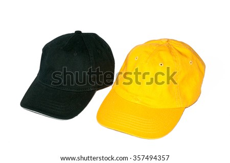 Baseball caps on white background